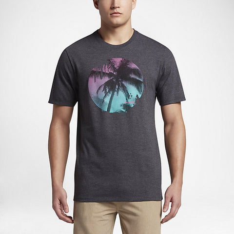 Hurley Men's Sometimes Palm T-Shirt, Black Heather