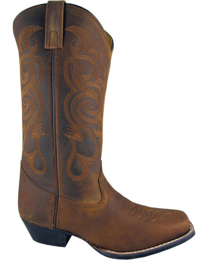Smoky Mountain Women's Square Toe Dark Distress Brown Vienna Boot