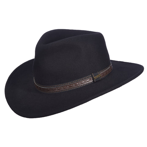 Scala Classico Men's Wool Felt Outback W/Overly Cowboy Hats