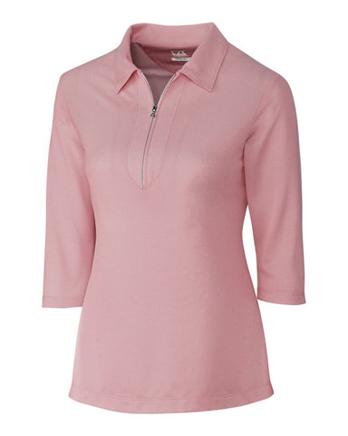 Cutter & Buck Women's Blaine Oxford 3/4 Sleeve Zip Polo
