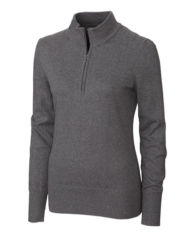 Cutter & Buck Women's Michele L/S Half Zip Mock Sweater