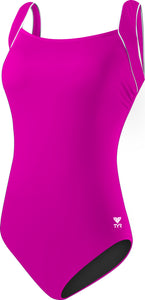 TYR Sport Women's Solid Square Neck Tank Swimsuit