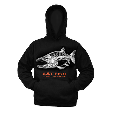 Grundéns Mens Eat Fish Wear GAGE Salmon Logo Hooded Sweatshirt