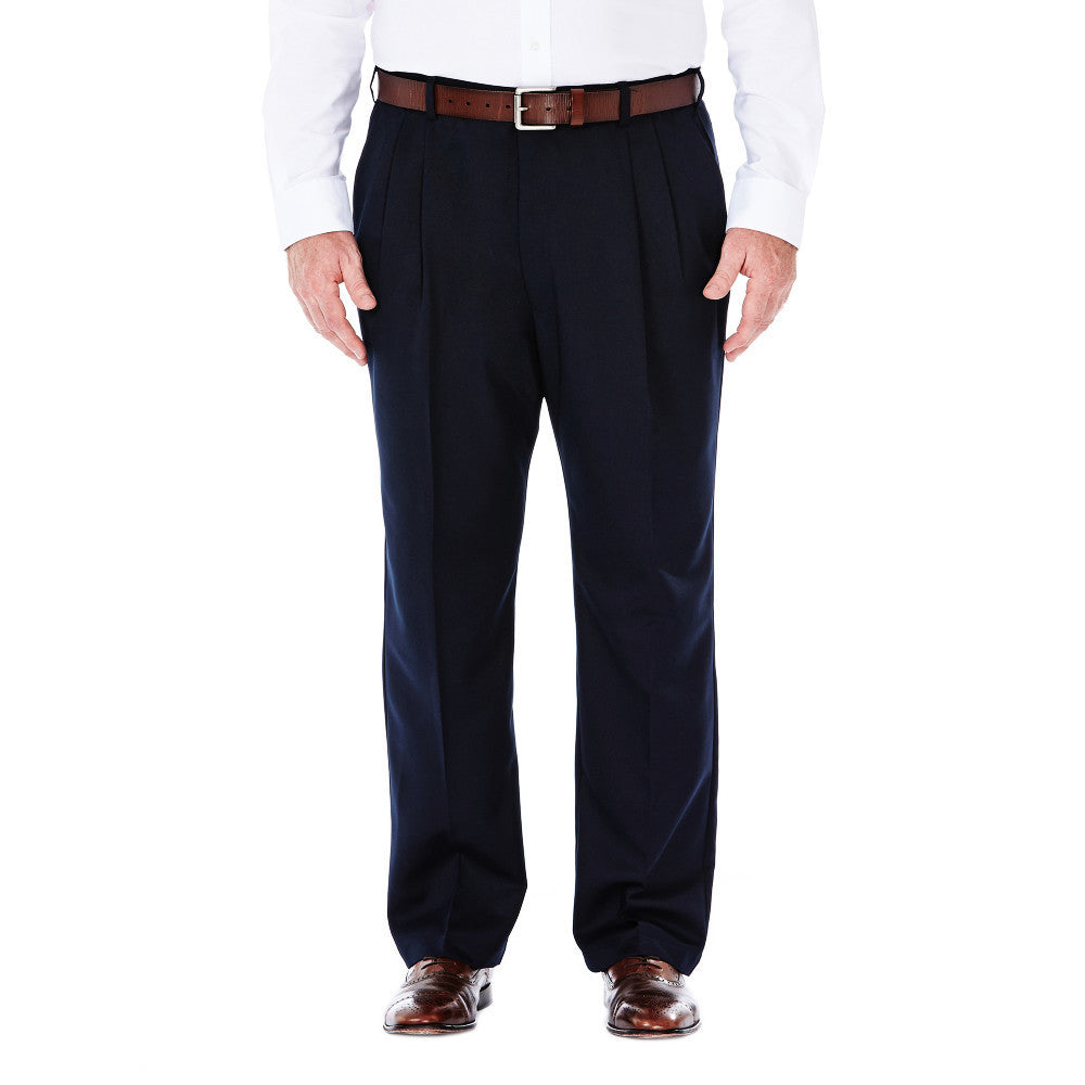 Haggar Men's BIG & TALL Cool 18 Classic Fit Pleated Front Pants