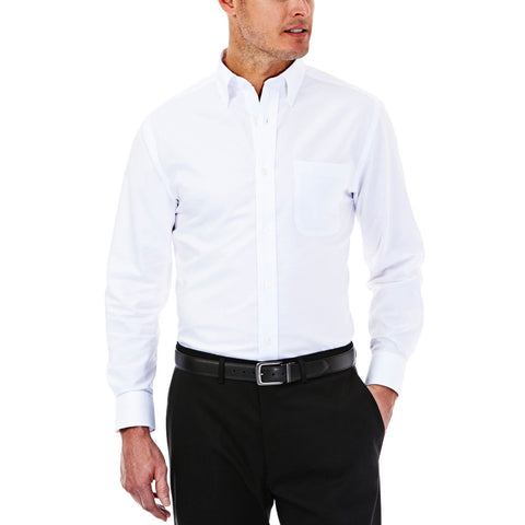 Haggar Men's Solid Oxford Regular Fit Dress Shirt