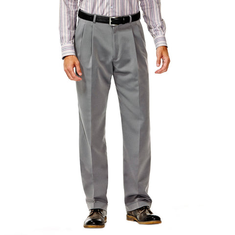 Haggar Men's Smart Fiber Herringbone Pleated Front Dress Pants