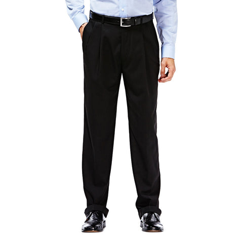 Haggar Men's Suit Separates Black Solid Pleated Front Pant