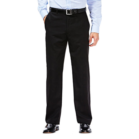 Haggar Men's Suit Separates Black Solid Flat Front Pant