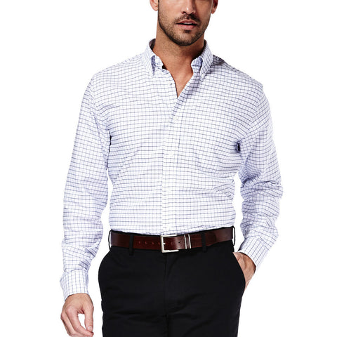 Haggar Men's Check Oxford Dress Shirt