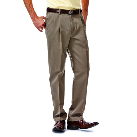 Haggar Men's Work To Weekend Classic Fit Pleated Front Khakis