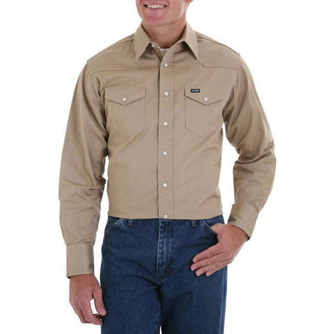 Wrangler Men's Authentic Cowboy Cut Firm Finish Twill Long Sleeve Work Shirt
