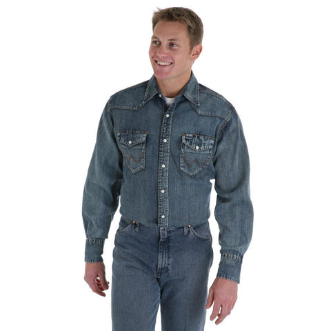 Wrangler Men's Authentic Cowboy Cut Snap Indigo Slub Denim Work Shirt