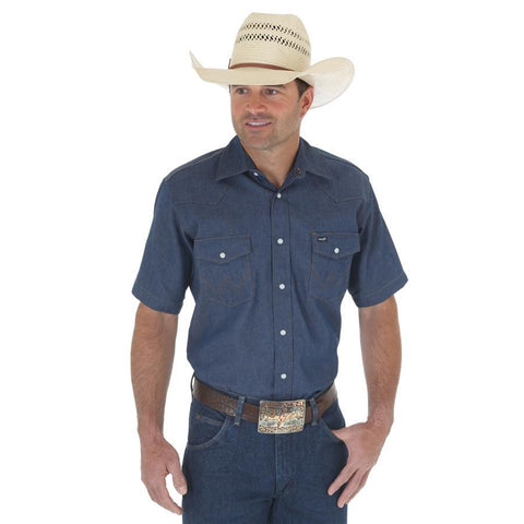 Wrangler Men's Authentic Cowboy Cut Firm Finish Denim Short Sleeve Work Shirt
