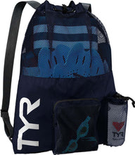 Load image into Gallery viewer, TYR Men's Big Mesh Mummy Backpack Navy