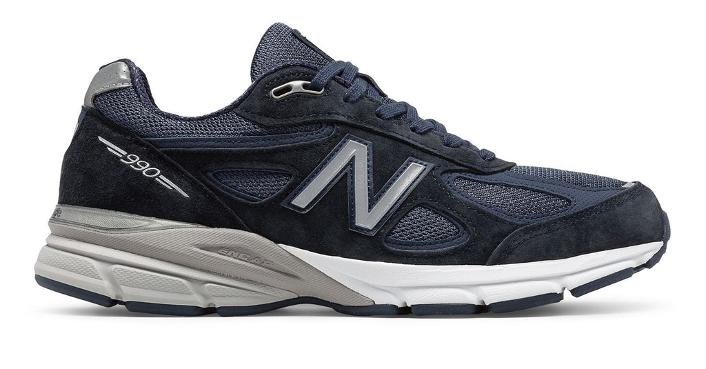 New Balance Men's 990V4 Running Shoe Navy with Silver