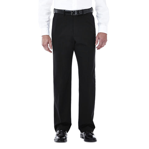 Haggar Men's Premium Stretch Solid Dress Pant - Classic Fit, Flat Front, Hidden Expandable Waistband
