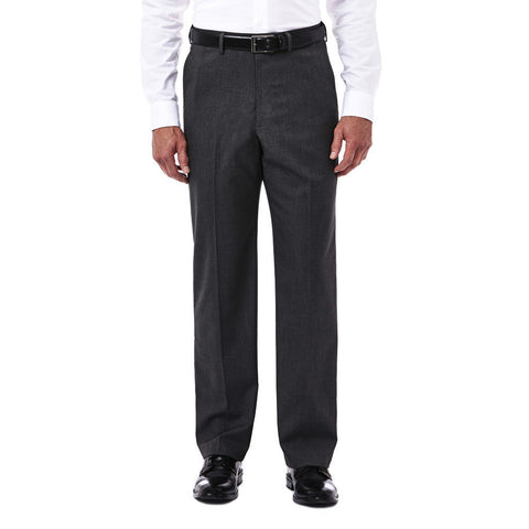 Haggar Men's Premium Stretch Tic Weave Dress Pant - Classic Fit, Flat Front, Hidden Expandable Waistband