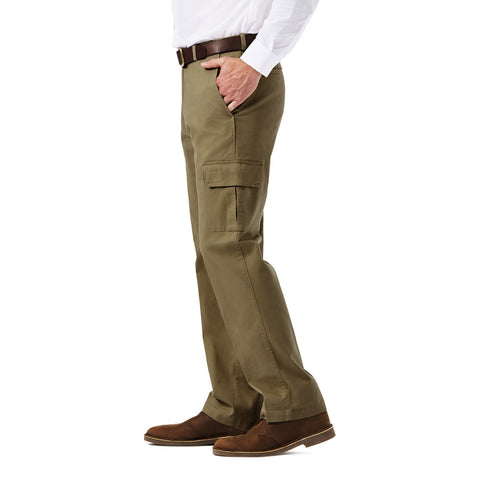 5248bae3 Haggar Men's Stretch Comfort Cargo Pant - Classic Fit, Flat Front, Hidden Expandable  Waistband