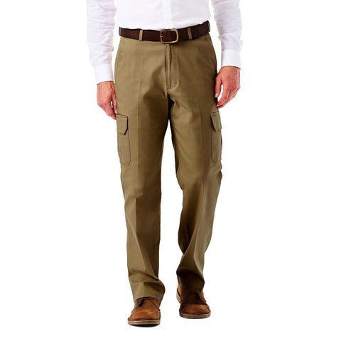 Haggar Men's Stretch Comfort Cargo Pant - Classic Fit, Flat Front, Hidden Expandable Waistband