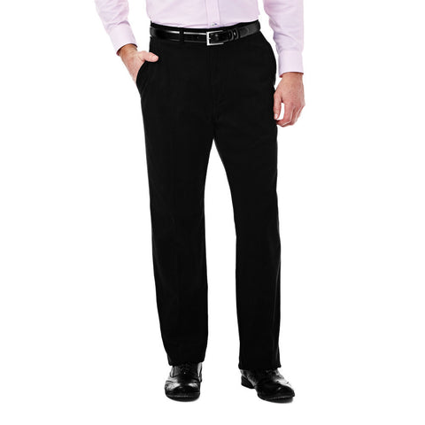 Haggar Men's Expandomatic Stretch Casual Pant - Classic Fit, Flat Front, Hidden Expandable Waistband