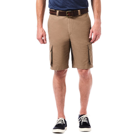 Haggar Men's Canvas Cargo Short- Straight Fit, Flat Front, Expandable Waistband