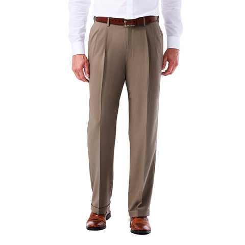 Haggar Men's eCLo Glen Plaid Dress Pant - Classic Fit, Pleated Front, Hidden Expandable Waistband