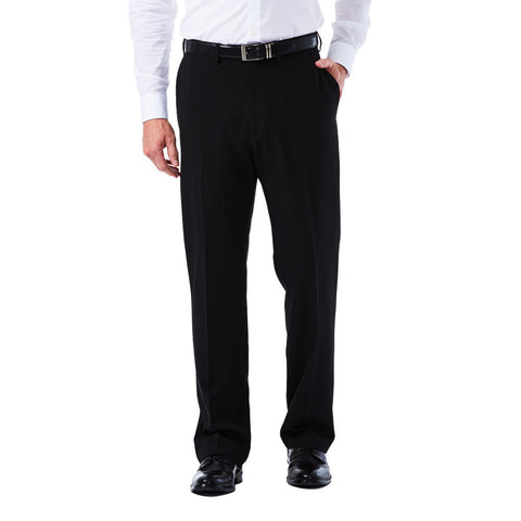 Haggar Men's Big & Tall eCLo Tonal Plaid Dress Pant - Classic Fit, Flat Front, Hidden Expandable Waistband