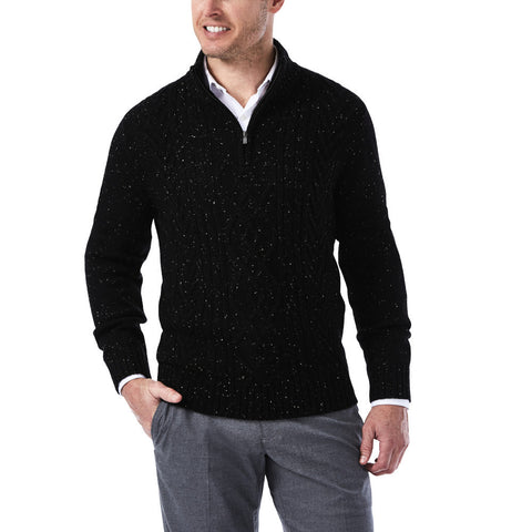 Haggar Men's 1/4 Zip Mock Neck Cable Knit Sweater