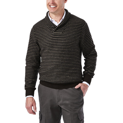 Haggar Men's Shawl Collar Intarsia Sweater