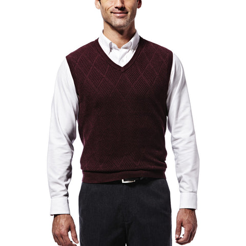 Haggar Men's Diamond Textured Sweater Vest