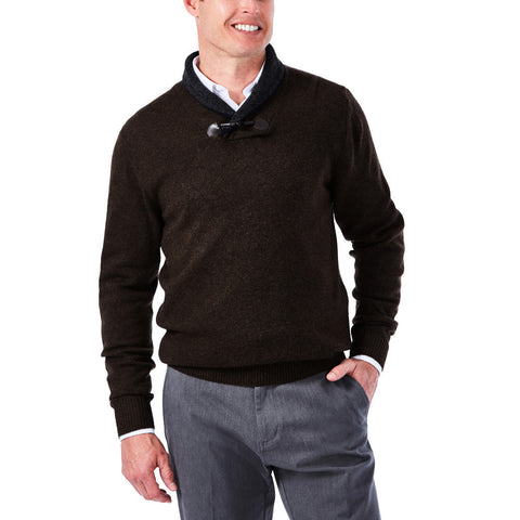 Haggar Men's Contrast Shawl Collar with Toggle Sweater
