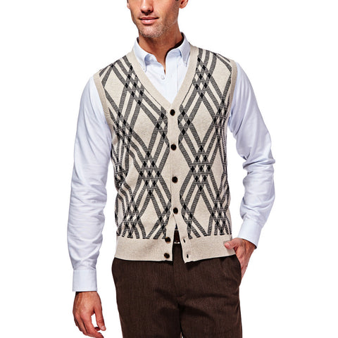 Haggar Men's Long Sleeve Exploded Argyle Button Front Vest