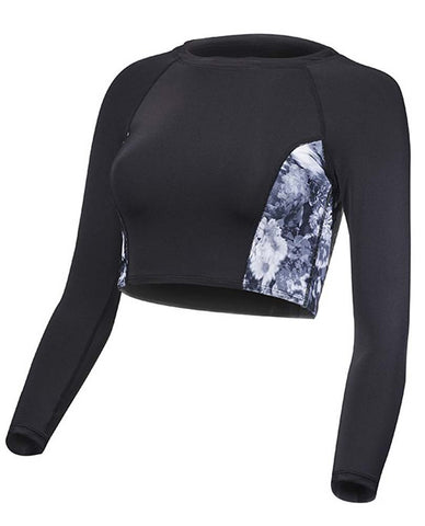 TYR Women's Maya Cropped Long Sleeve Rashguard Black/Grey