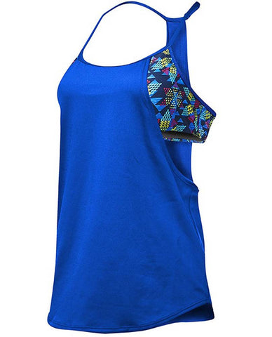 TYR Women's Shea 2 in 1 Tank - Edessa  Navy/Multi