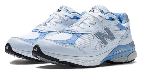 New Balance Women's 990v3 Running Shoe White/Blue