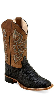 Black Faux Horn Back Gator Print/Tan Fry