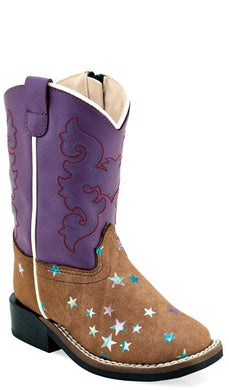 Light Brown Suede with Star /Purple