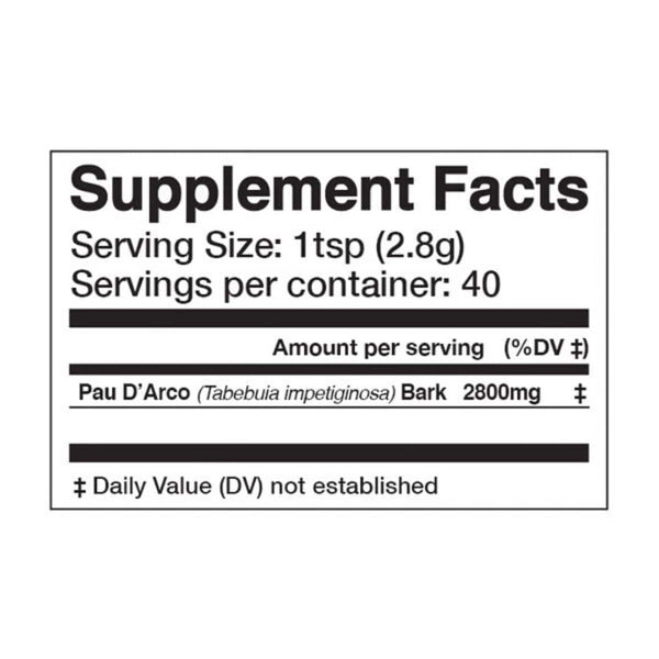 "<img src=""pau d arco superfood powder supplement facts.jpg"" alt=""pau d arco superfood powder supplement facts"">"