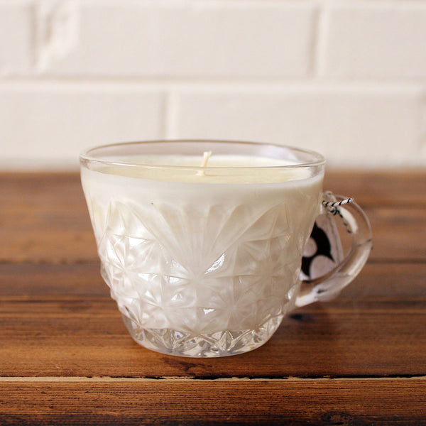 Lavender Lemon Soy Candle in Vintage Punch Glass