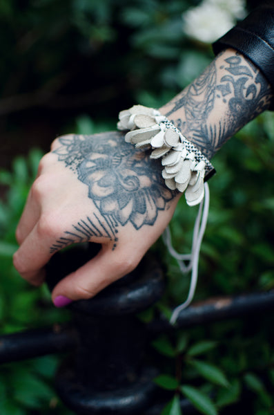 Bracelet White Leather