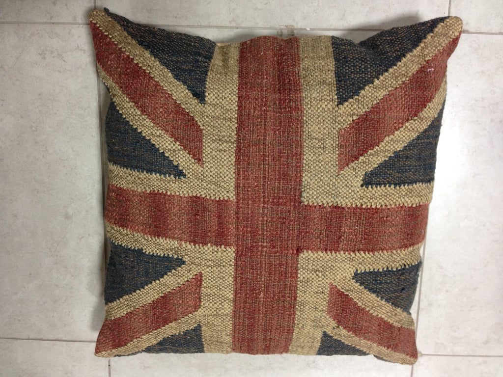 "British Flag Kilim Pillow 24"" sq UNION JACK"