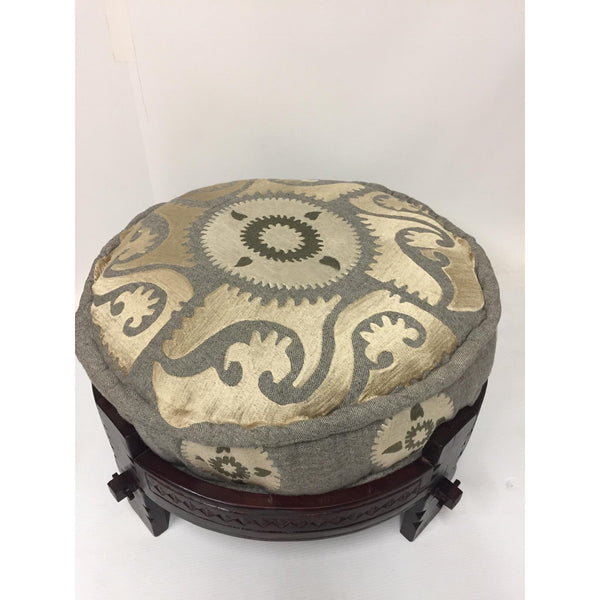 Wool Suzani Embroidered Pouf with a Wood Ottoman base