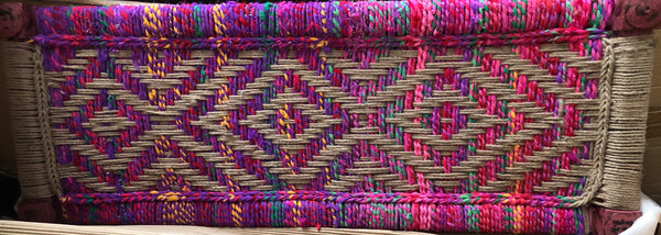 Bohemian Woven Jute/Fabric Wood Bench