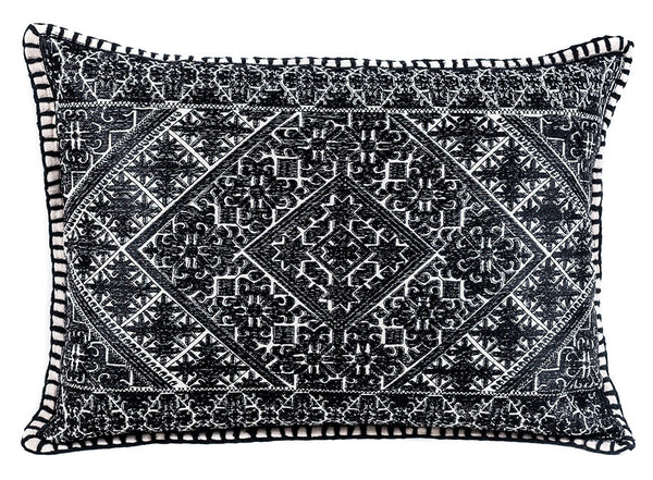 After Dark Shy Lumbar Embroidered Pillow