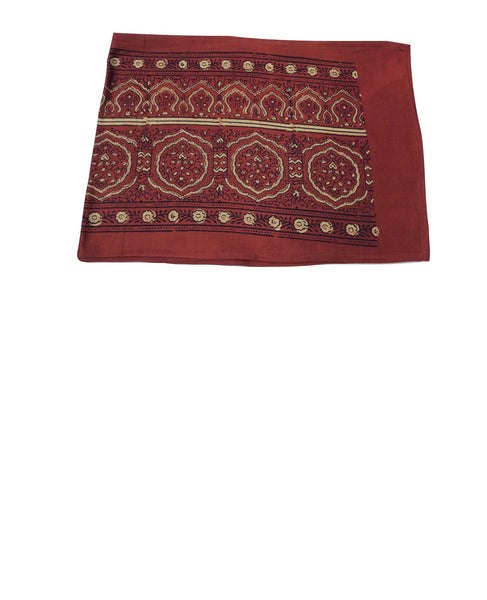 "Villarica 72"" Natural-Red Hand-Block Printed Table Runner"