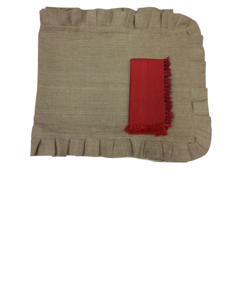 Beckett Red Set of 4 Linen Cloth Dinner Napkins