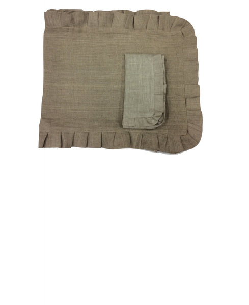 "Linen Cloth Ruffled Edge Set of four Napkins: 20""sq."