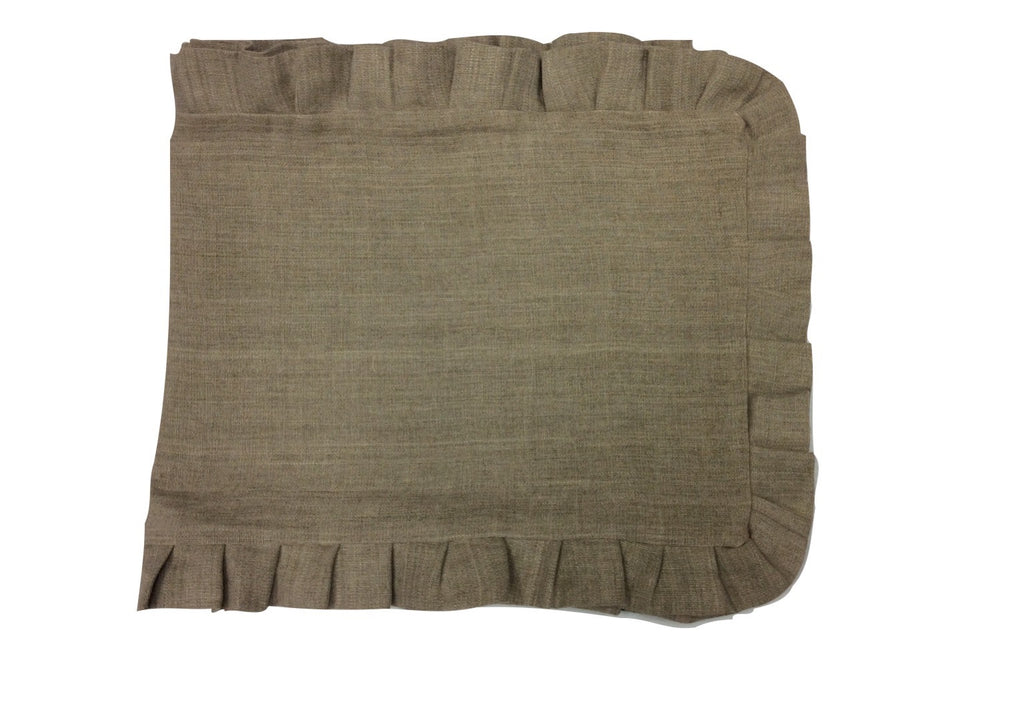 Linen Cloth Ruffled Edge Table Runner 76""