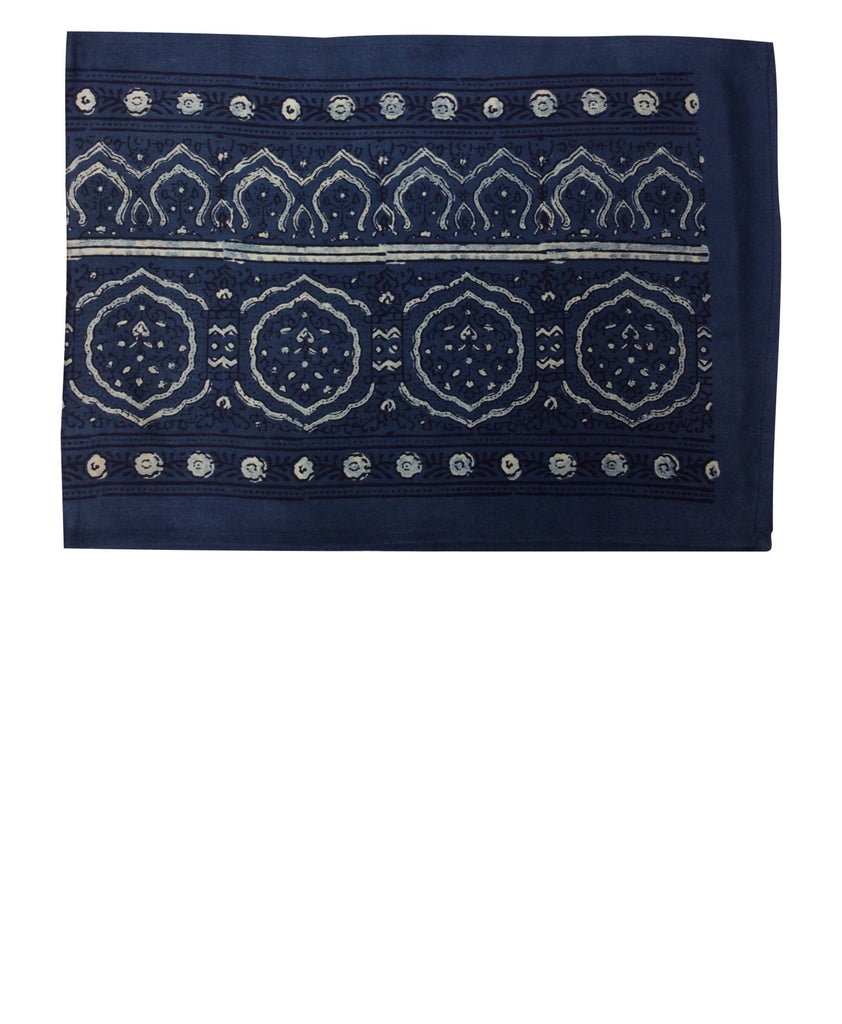 "Villarica 72"" Natural - Indigo Hand-Block Printed Table Runner"