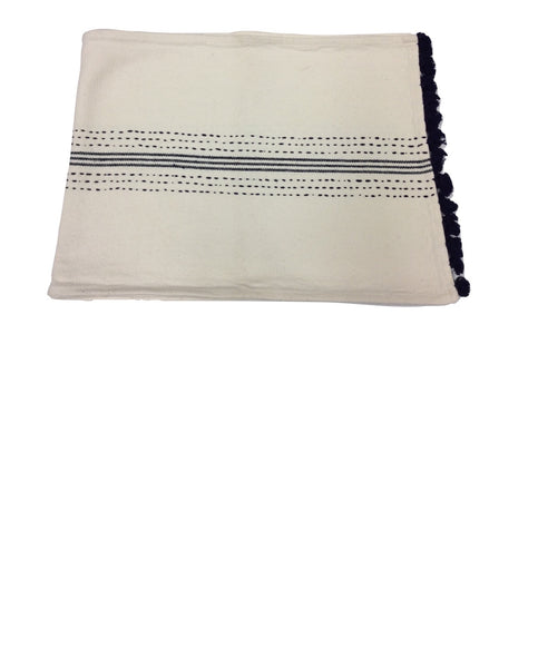 "Hampton 72"" Ivory - Navy Cotton Table Runner"